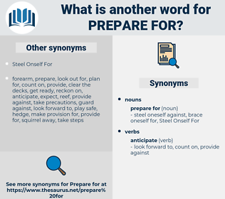 prepare for, synonym prepare for, another word for prepare for, words like prepare for, thesaurus prepare for