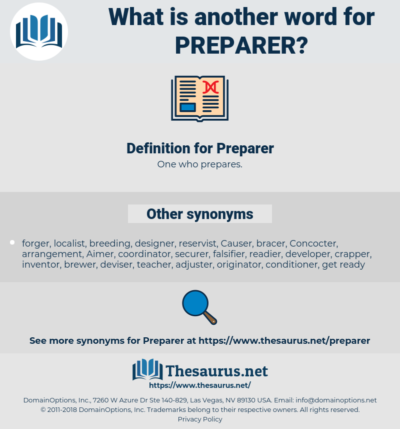 Preparer, synonym Preparer, another word for Preparer, words like Preparer, thesaurus Preparer