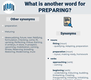 Preparing, synonym Preparing, another word for Preparing, words like Preparing, thesaurus Preparing