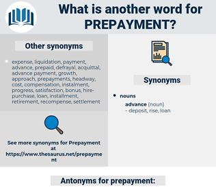prepayment, synonym prepayment, another word for prepayment, words like prepayment, thesaurus prepayment