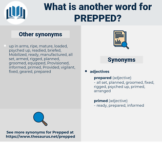 prepped, synonym prepped, another word for prepped, words like prepped, thesaurus prepped