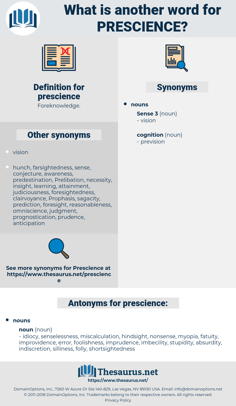 prescience, synonym prescience, another word for prescience, words like prescience, thesaurus prescience