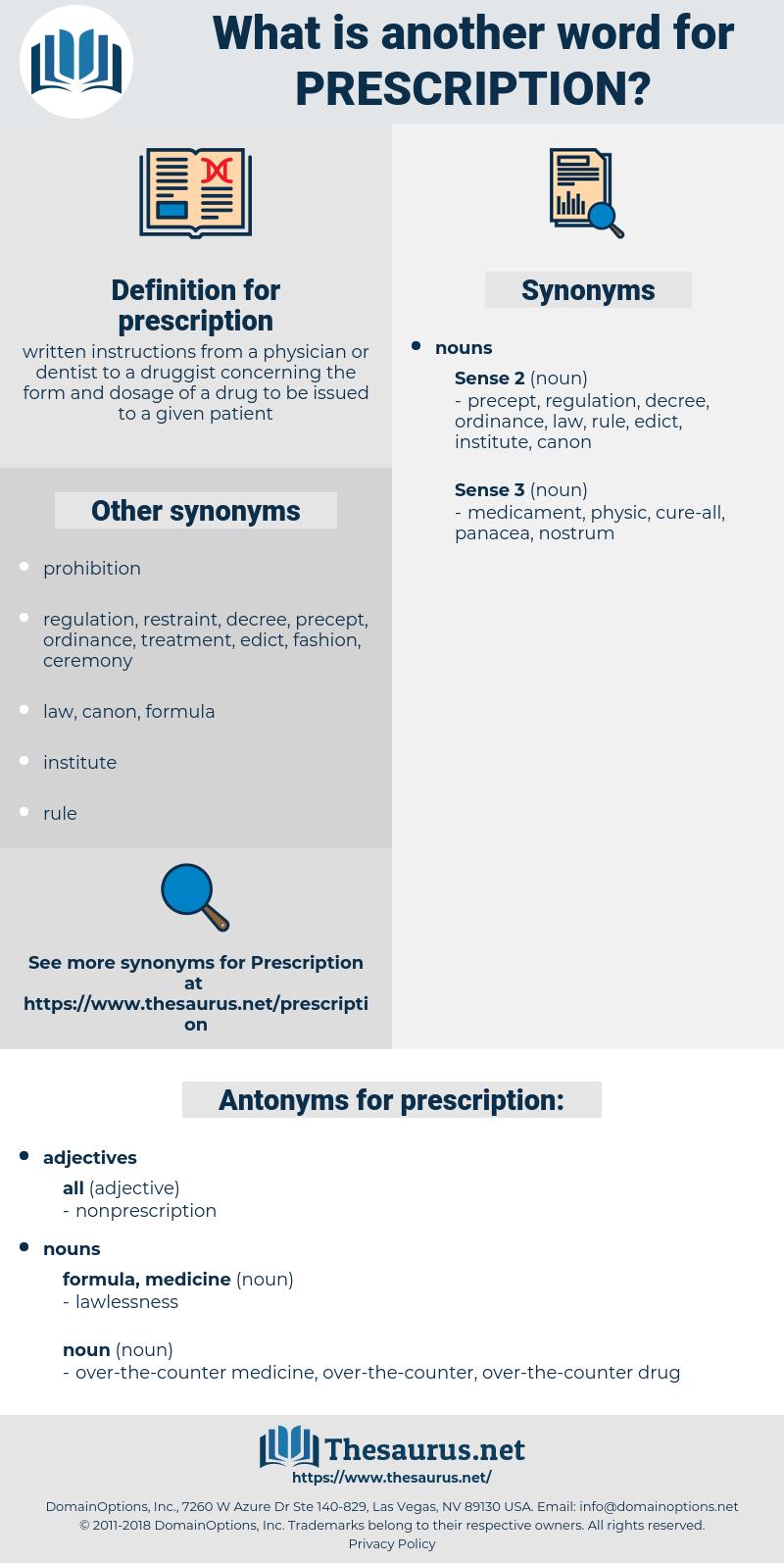 prescription, synonym prescription, another word for prescription, words like prescription, thesaurus prescription