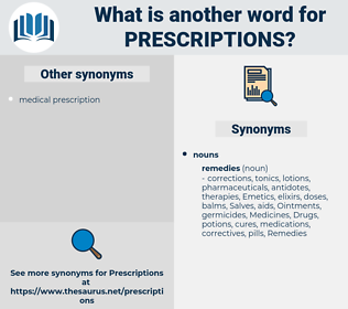 Prescriptions, synonym Prescriptions, another word for Prescriptions, words like Prescriptions, thesaurus Prescriptions