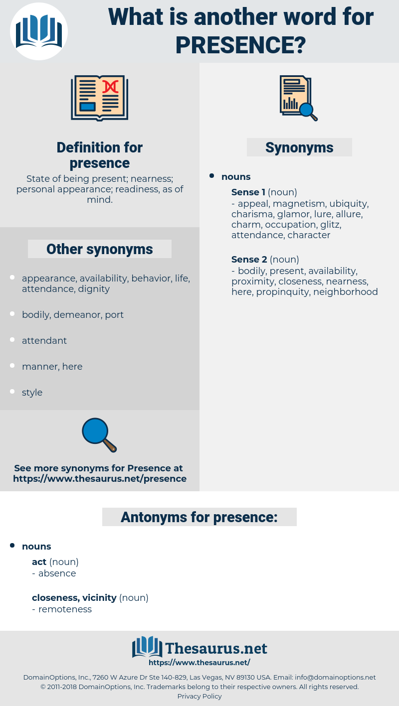 presence, synonym presence, another word for presence, words like presence, thesaurus presence