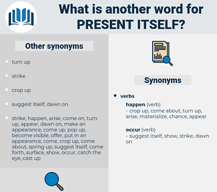 present itself, synonym present itself, another word for present itself, words like present itself, thesaurus present itself
