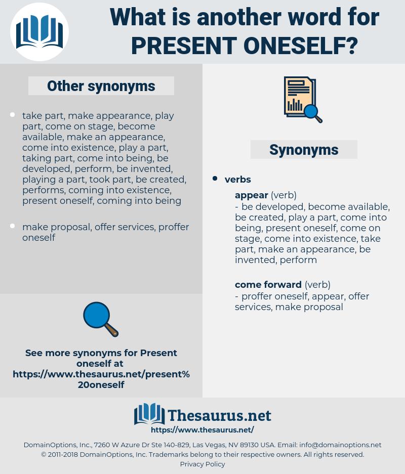 present oneself, synonym present oneself, another word for present oneself, words like present oneself, thesaurus present oneself