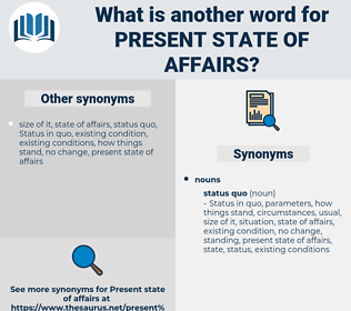 present state of affairs, synonym present state of affairs, another word for present state of affairs, words like present state of affairs, thesaurus present state of affairs