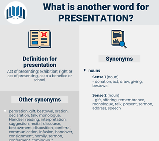 presentation, synonym presentation, another word for presentation, words like presentation, thesaurus presentation