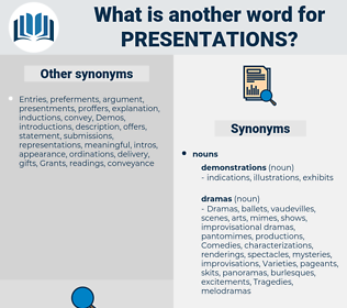 presentations, synonym presentations, another word for presentations, words like presentations, thesaurus presentations