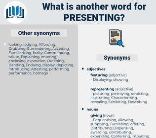 Presenting, synonym Presenting, another word for Presenting, words like Presenting, thesaurus Presenting