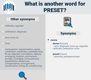 preset, synonym preset, another word for preset, words like preset, thesaurus preset