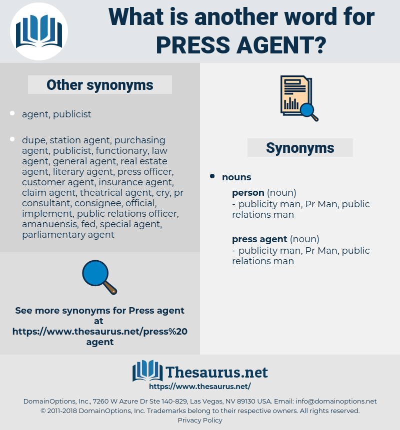 press agent, synonym press agent, another word for press agent, words like press agent, thesaurus press agent