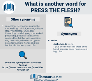 press the flesh, synonym press the flesh, another word for press the flesh, words like press the flesh, thesaurus press the flesh