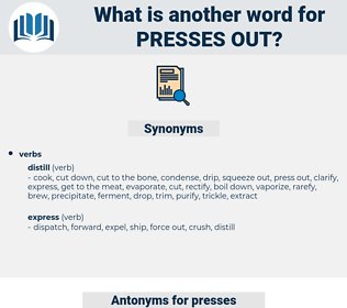 presses out, synonym presses out, another word for presses out, words like presses out, thesaurus presses out
