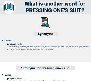 pressing one's suit, synonym pressing one's suit, another word for pressing one's suit, words like pressing one's suit, thesaurus pressing one's suit
