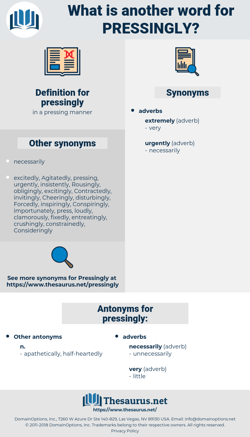 pressingly, synonym pressingly, another word for pressingly, words like pressingly, thesaurus pressingly