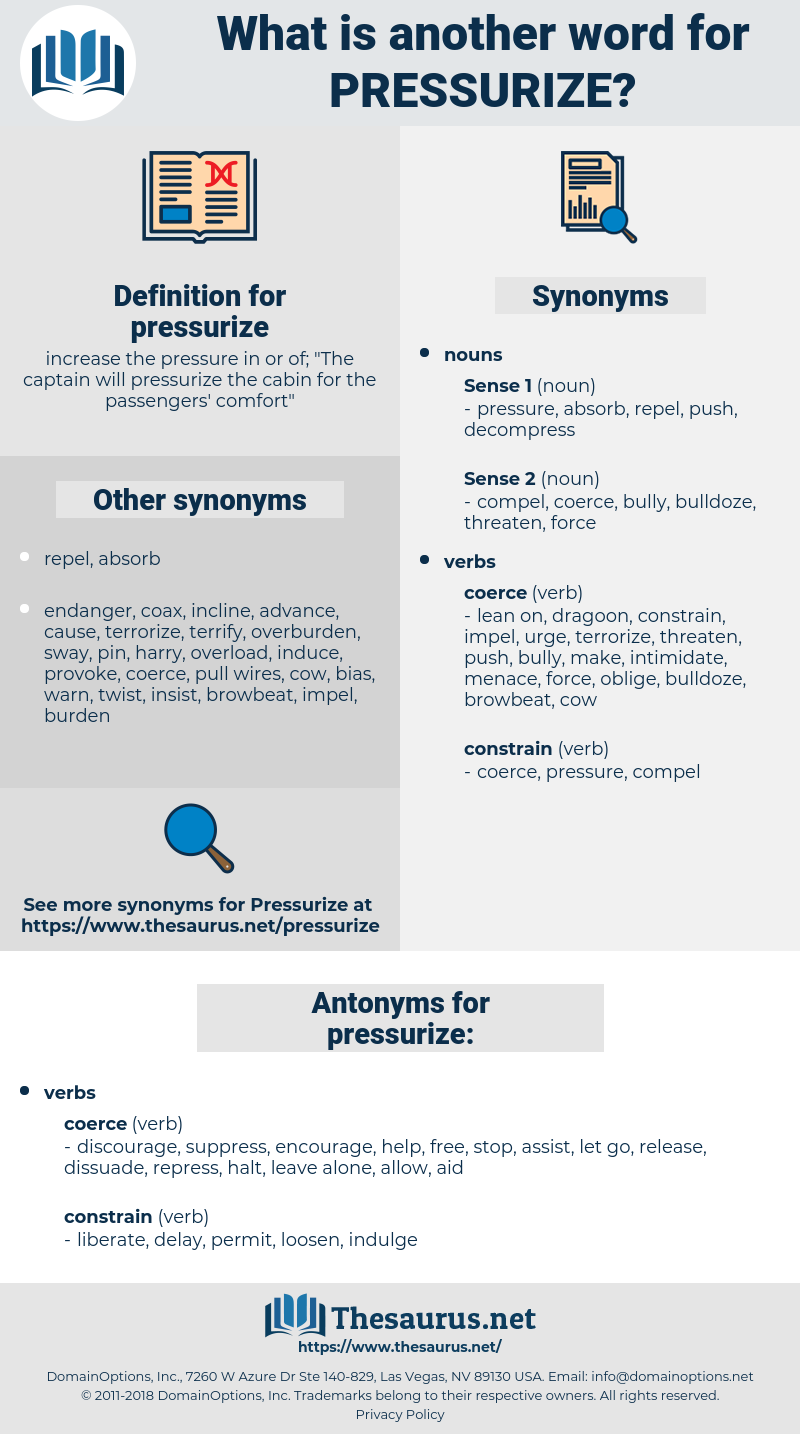 pressurize, synonym pressurize, another word for pressurize, words like pressurize, thesaurus pressurize
