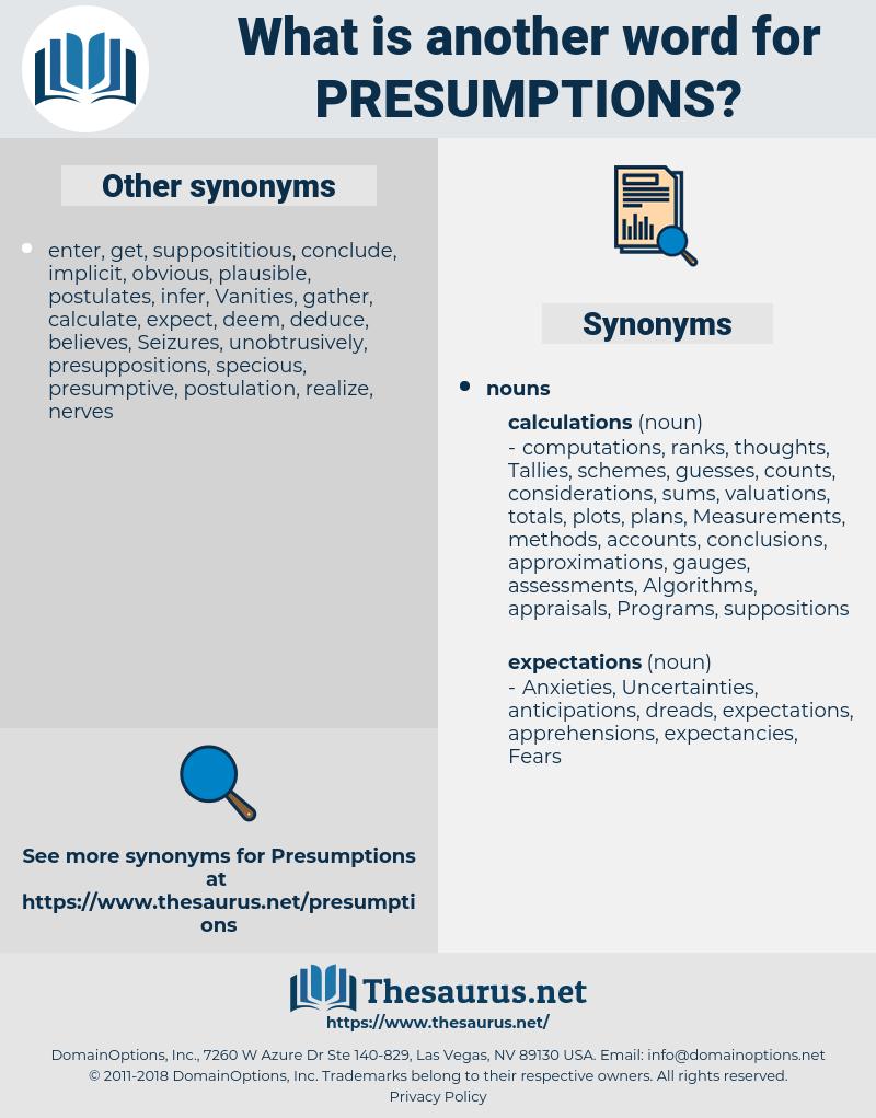 presumptions, synonym presumptions, another word for presumptions, words like presumptions, thesaurus presumptions