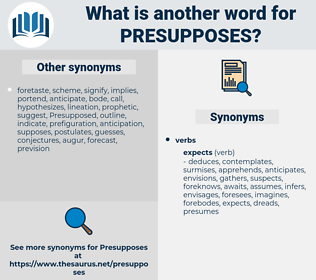 presupposes, synonym presupposes, another word for presupposes, words like presupposes, thesaurus presupposes