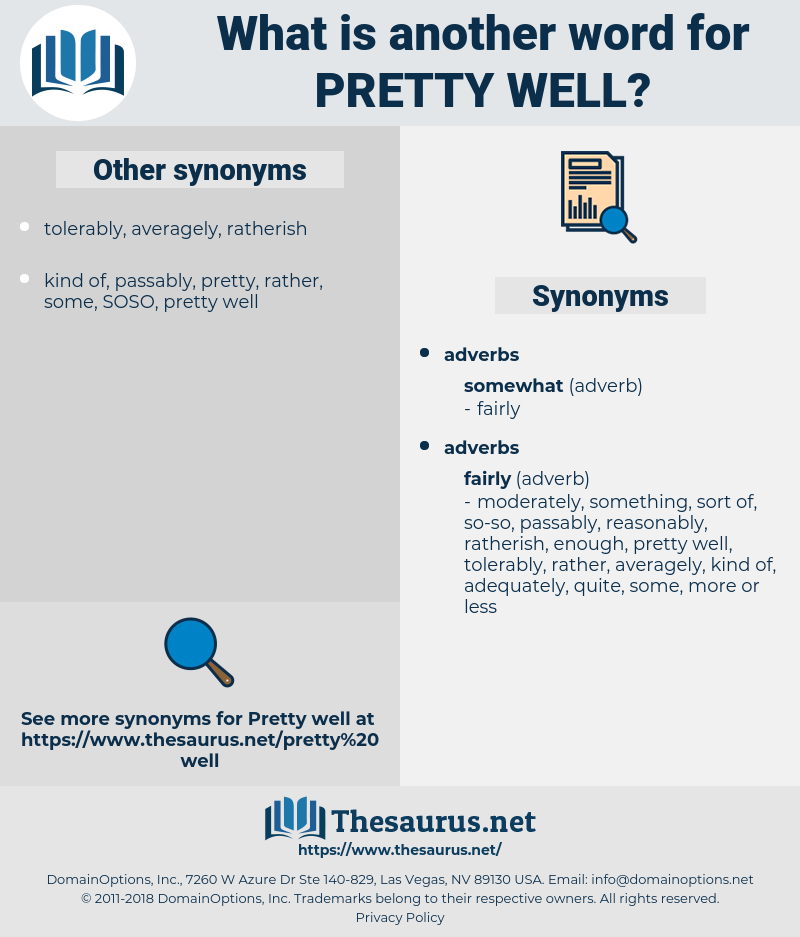 pretty well, synonym pretty well, another word for pretty well, words like pretty well, thesaurus pretty well