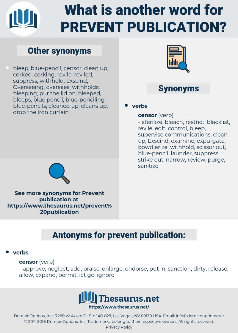 prevent publication, synonym prevent publication, another word for prevent publication, words like prevent publication, thesaurus prevent publication