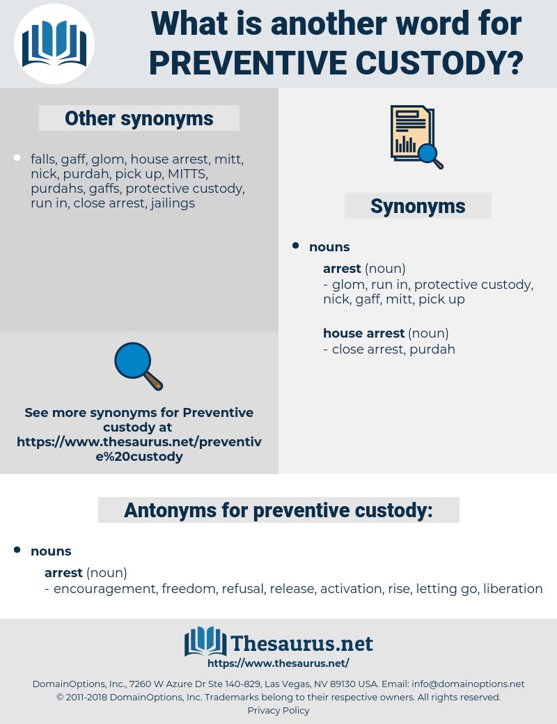 preventive custody, synonym preventive custody, another word for preventive custody, words like preventive custody, thesaurus preventive custody