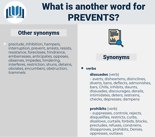 prevents, synonym prevents, another word for prevents, words like prevents, thesaurus prevents