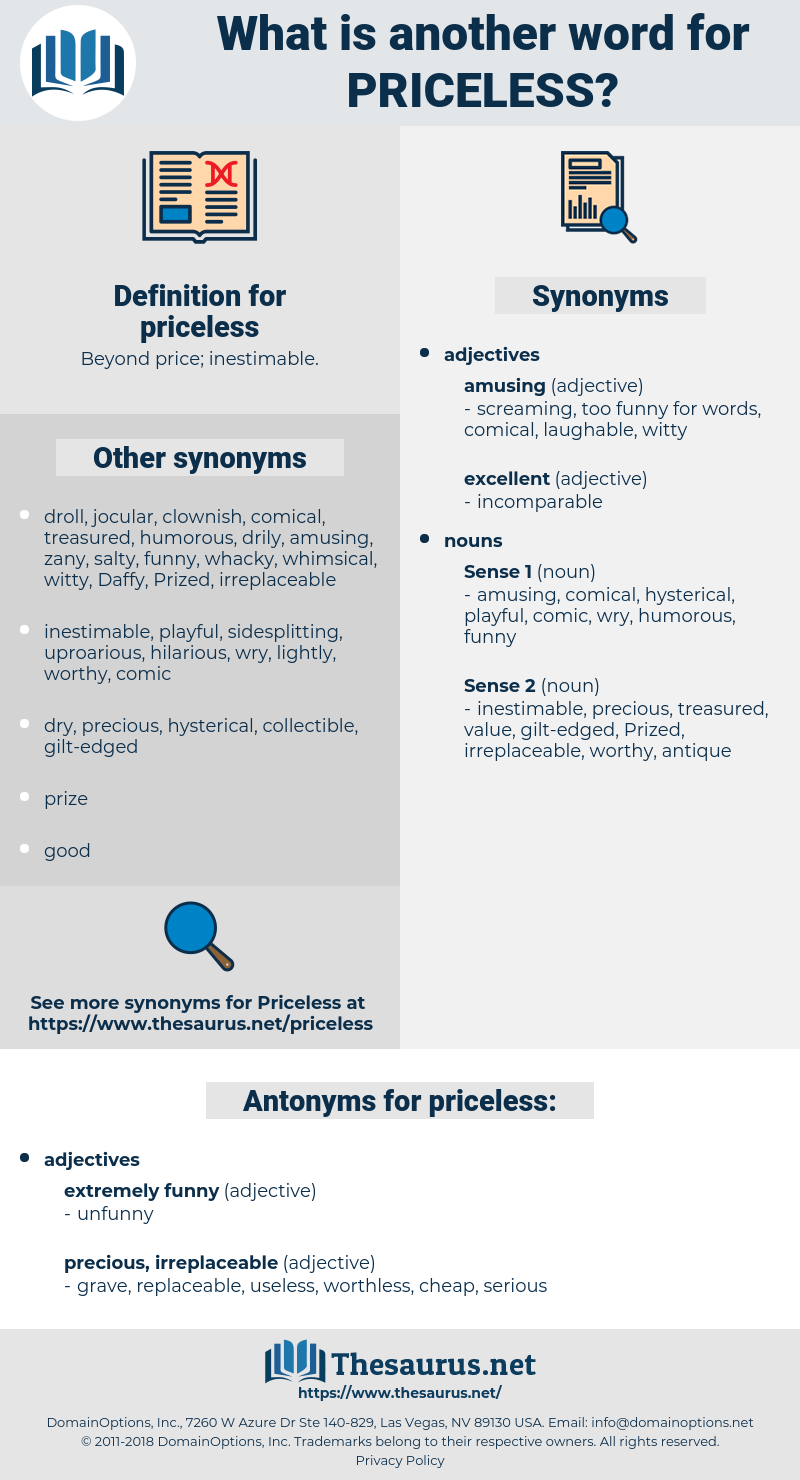 priceless, synonym priceless, another word for priceless, words like priceless, thesaurus priceless