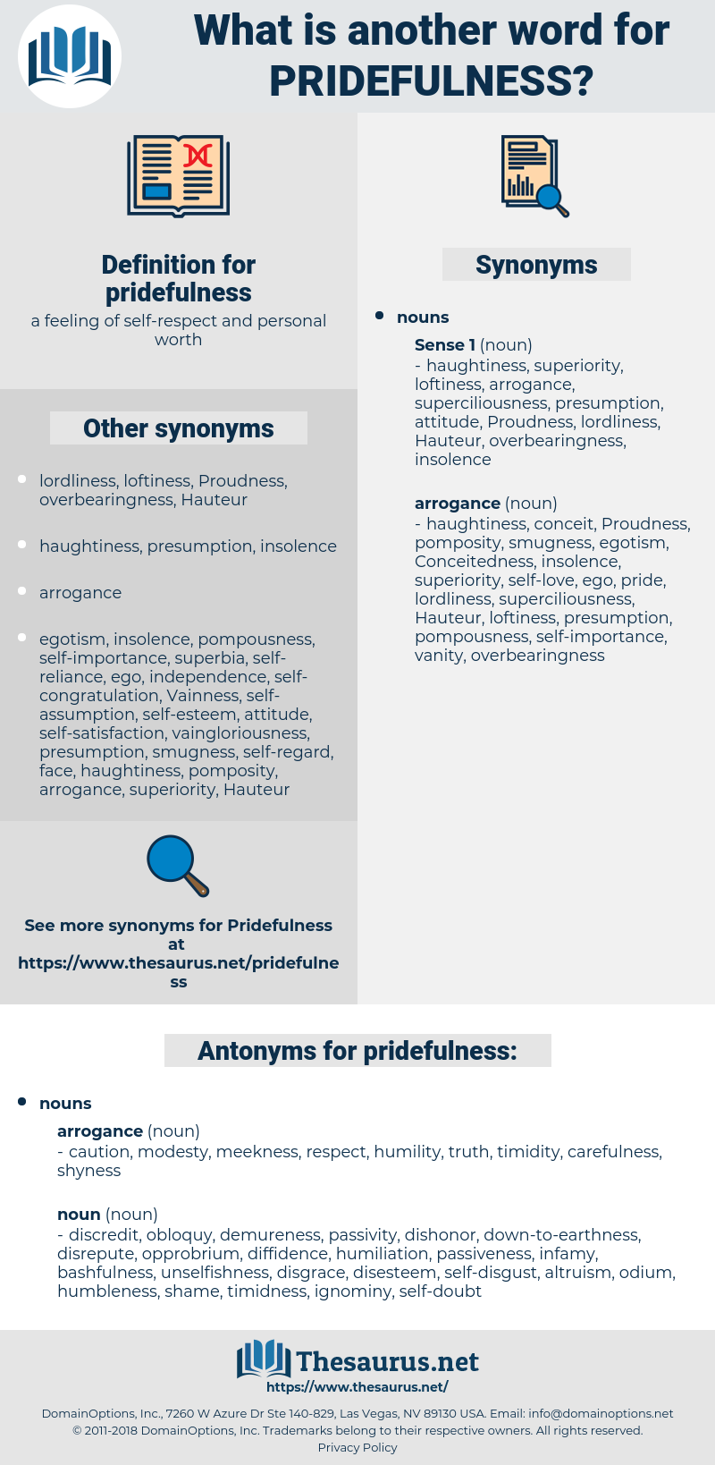 pridefulness, synonym pridefulness, another word for pridefulness, words like pridefulness, thesaurus pridefulness