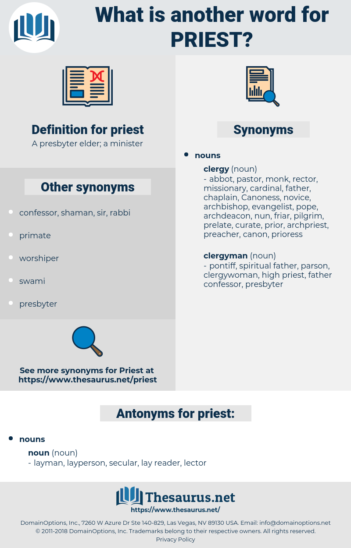priest, synonym priest, another word for priest, words like priest, thesaurus priest