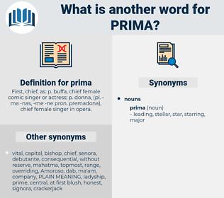 prima, synonym prima, another word for prima, words like prima, thesaurus prima