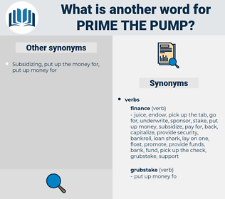 prime the pump, synonym prime the pump, another word for prime the pump, words like prime the pump, thesaurus prime the pump
