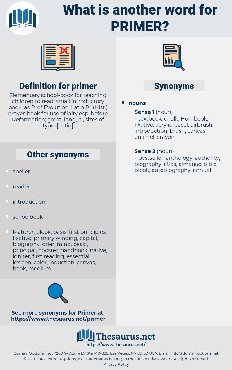 primer, synonym primer, another word for primer, words like primer, thesaurus primer