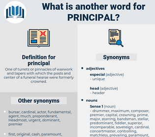 principal, synonym principal, another word for principal, words like principal, thesaurus principal