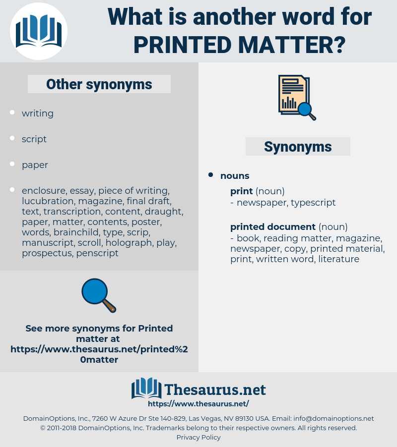 printed matter, synonym printed matter, another word for printed matter, words like printed matter, thesaurus printed matter