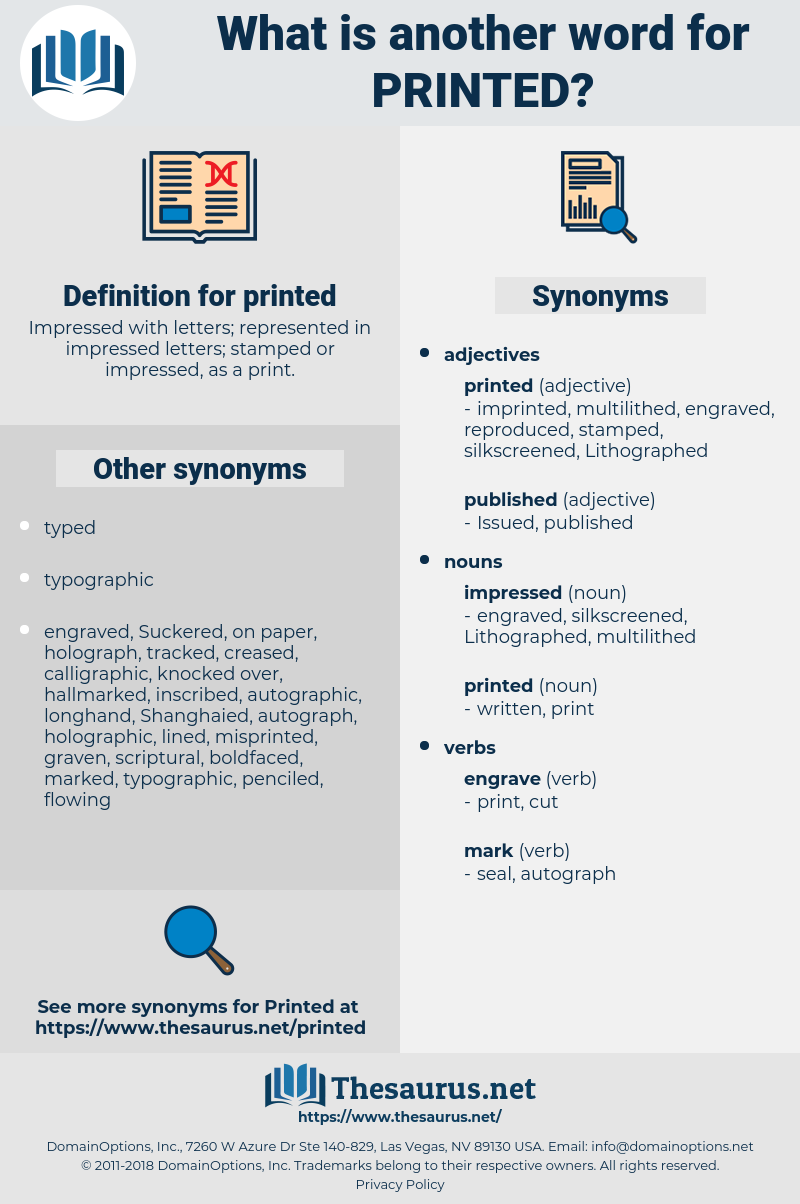 printed, synonym printed, another word for printed, words like printed, thesaurus printed