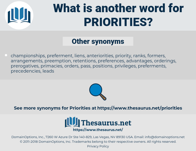 priorities, synonym priorities, another word for priorities, words like priorities, thesaurus priorities