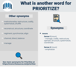 prioritize, synonym prioritize, another word for prioritize, words like prioritize, thesaurus prioritize