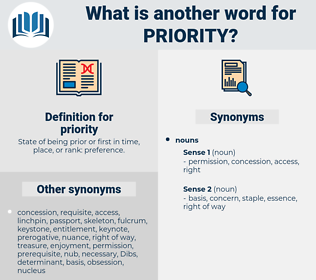 priority, synonym priority, another word for priority, words like priority, thesaurus priority