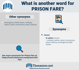 prison fare, synonym prison fare, another word for prison fare, words like prison fare, thesaurus prison fare