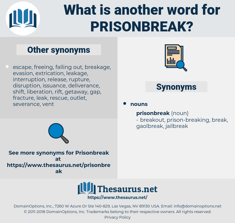 prisonbreak, synonym prisonbreak, another word for prisonbreak, words like prisonbreak, thesaurus prisonbreak