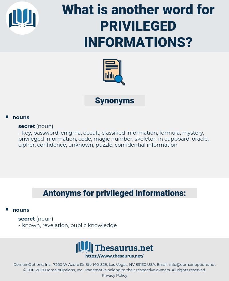 privileged informations, synonym privileged informations, another word for privileged informations, words like privileged informations, thesaurus privileged informations
