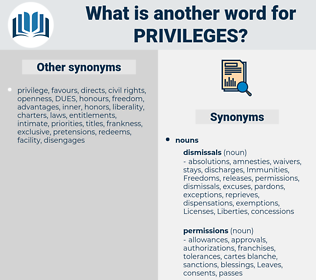 privileges, synonym privileges, another word for privileges, words like privileges, thesaurus privileges