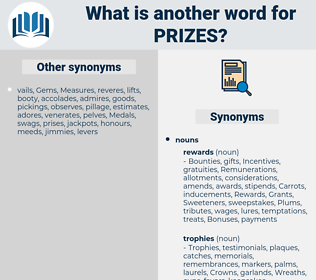 prizes, synonym prizes, another word for prizes, words like prizes, thesaurus prizes