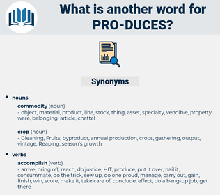 pro-duces, synonym pro-duces, another word for pro-duces, words like pro-duces, thesaurus pro-duces