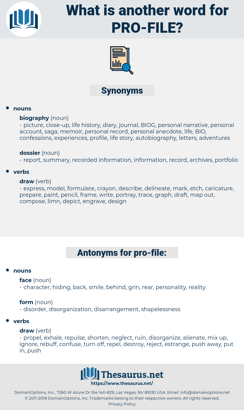 pro-file, synonym pro-file, another word for pro-file, words like pro-file, thesaurus pro-file