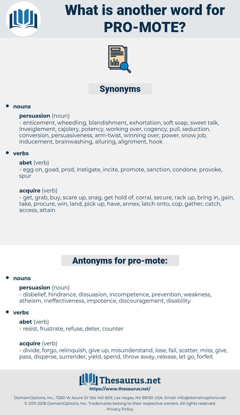 pro-mote, synonym pro-mote, another word for pro-mote, words like pro-mote, thesaurus pro-mote