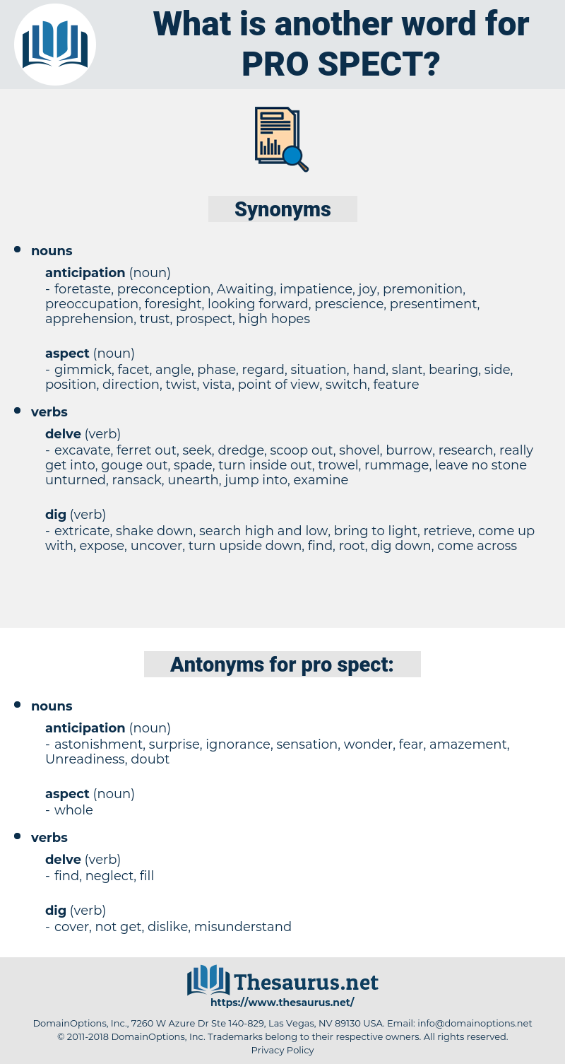 pro spect, synonym pro spect, another word for pro spect, words like pro spect, thesaurus pro spect