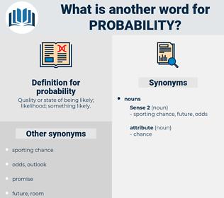 probability, synonym probability, another word for probability, words like probability, thesaurus probability